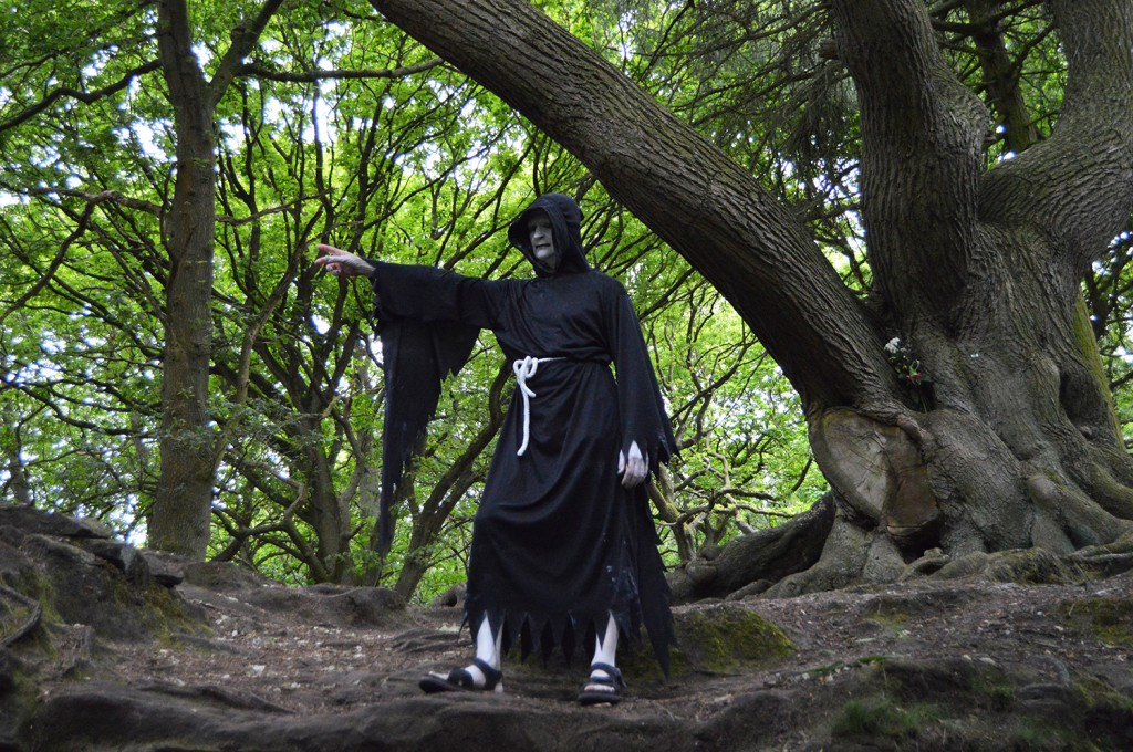 Our very own Grim Reaper awaits you at the top of the railway climb!